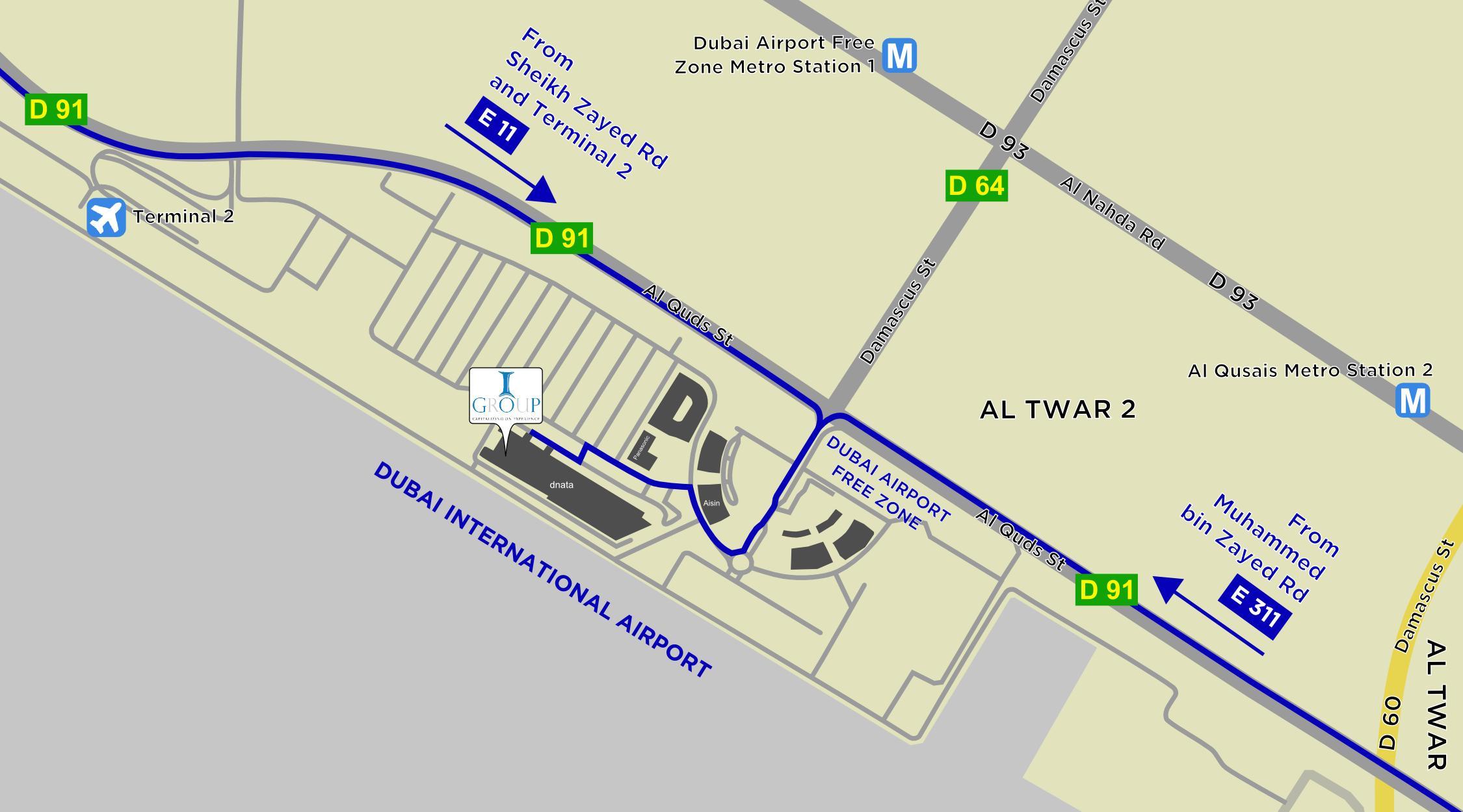 Dubai Airport Map on