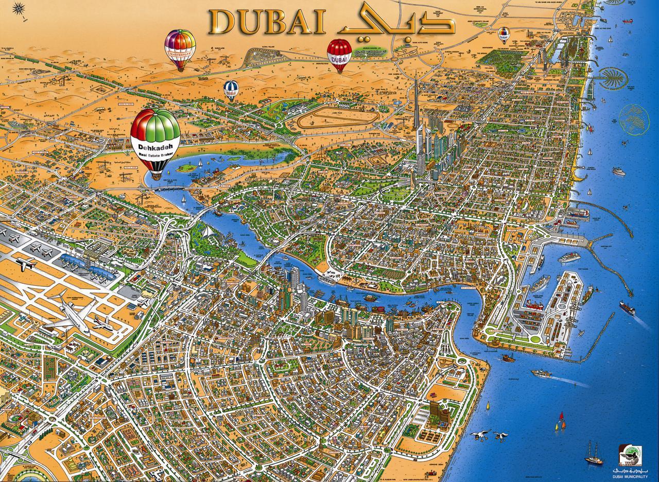 Dubai creek-map - Karte von Dubai creek (Vereinigte ...