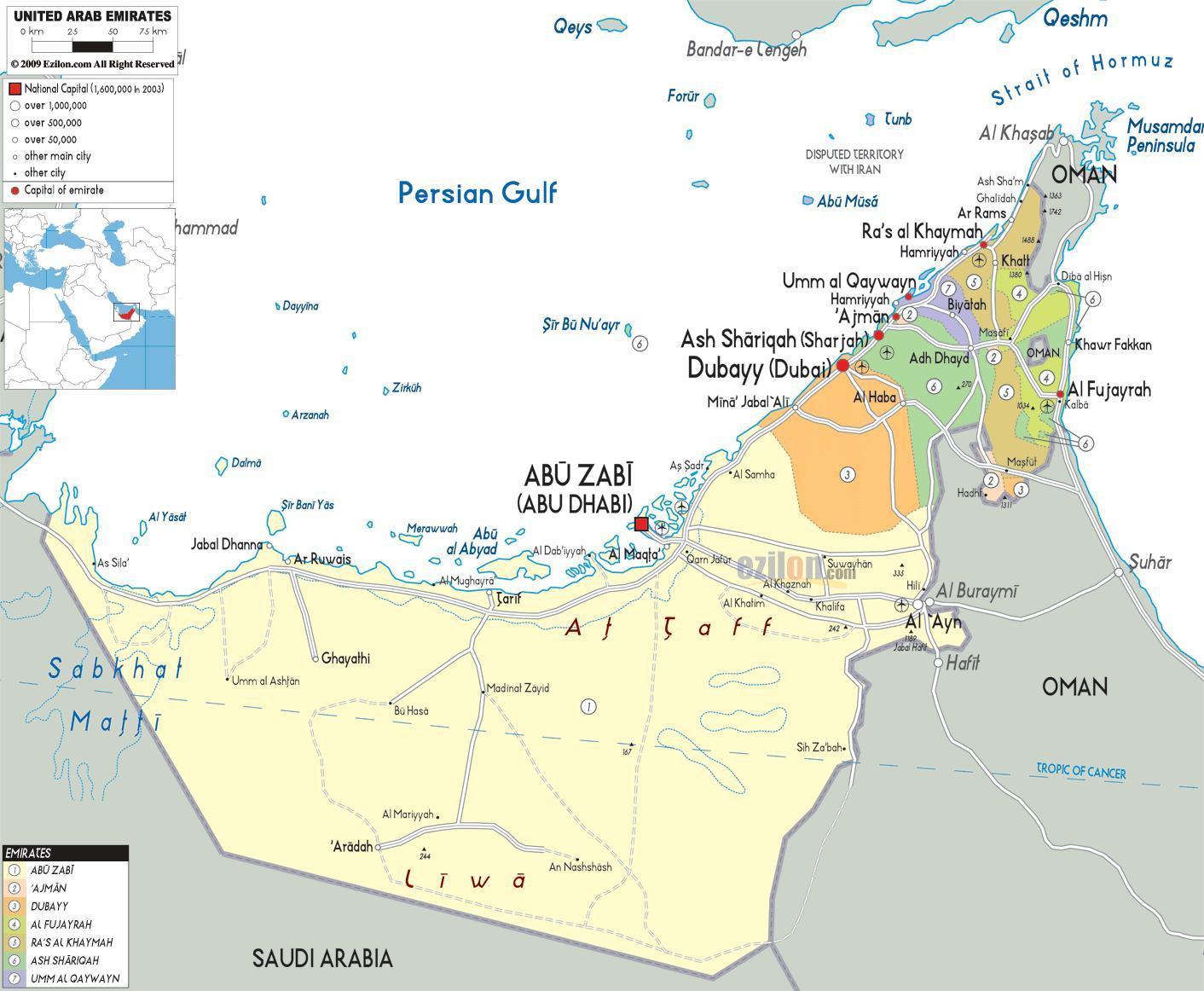 Dubai Vae Landkarte Karte Von Dubai Die Vae Vereinigte