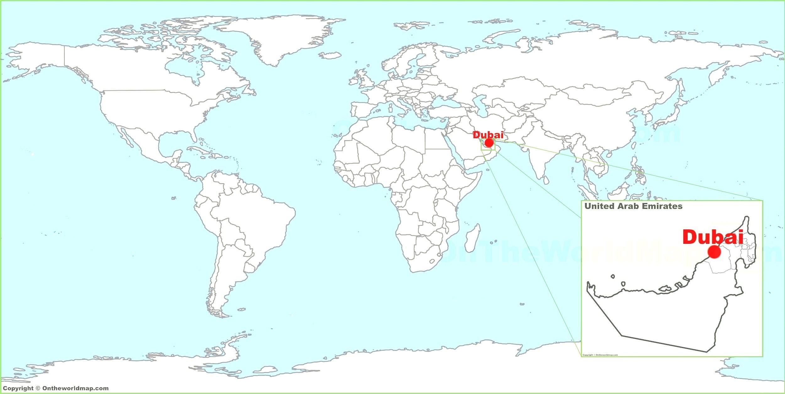 Dubai world map - Dubai auf einer Weltkarte (Vereinigte Arabische ...