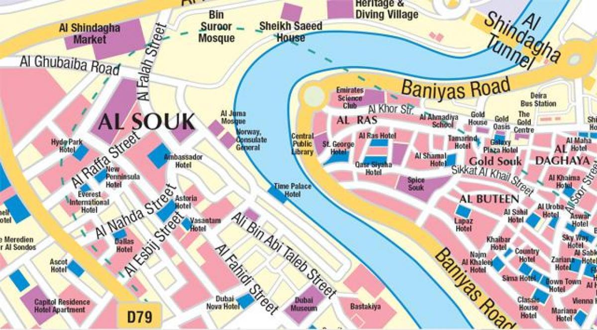 Alte Dubai map - Karte von alt-Dubai (Vereinigte Arabische ...