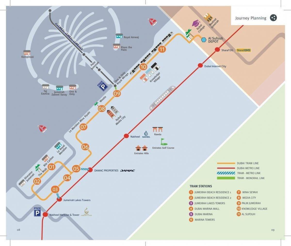 Dubai tram map - Karte von Dubai-tram (Vereinigte Arabische ...